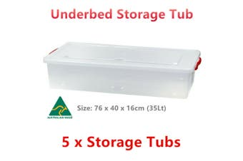 5 x Underbed Storage Containers Clear Plastic Tub 76x40x16cm 35L Shoes Organiser