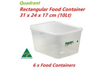 6 x Plastic Rectangle Food Container 10L BPA Free Clear Storage AU Box Lid