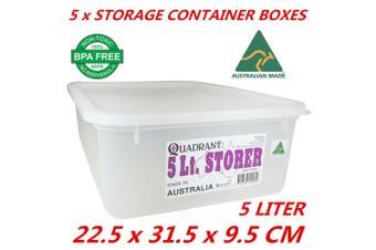 5 x 5L Plastic Multipurpose Quadrant Storage Container Organizer Stackable Box