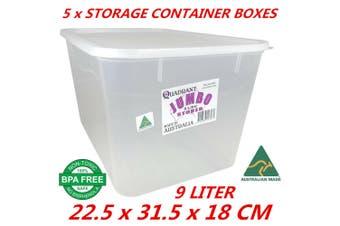 5 x 9L Plastic Multipurpose Quadrant Storage Container Organizer Stackable Box