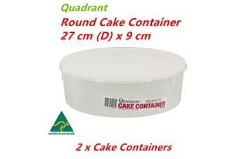2 x Round Cake Container 27x9cm Plastic Storage Box Freezer Safe Pastry Tray Holder