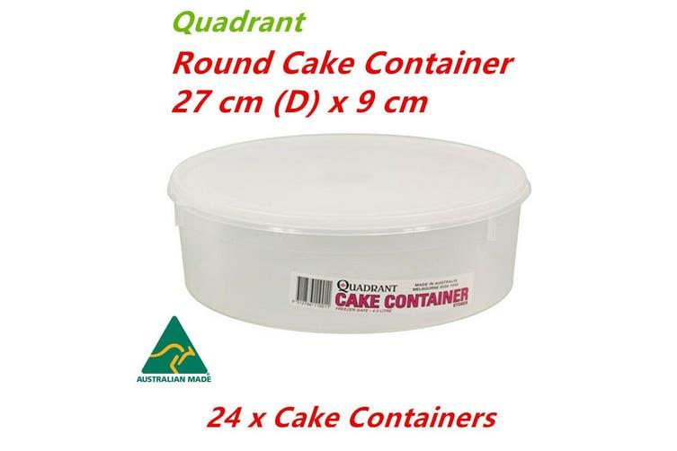24 x Round Cake Container 27x9cm Plastic Storage Box Freezer Safe Pastry Tray Holder