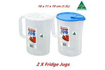 2 x Quadrant Fridge Jug With Lid BPA Free Microwave Dishwasher Freezer Safe