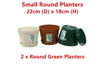 2 x Green Round Plastic Garden Pots 22cm Flower Planter Decor Home Saucer Tray Grow