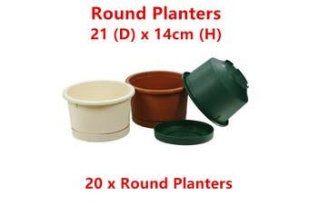 20 x Round Plastic Garden Pot Flower Planter Home Saucer Tray Indoor Outdoor