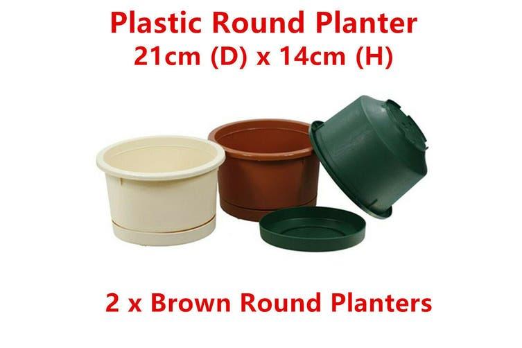 2 x Brown Small Round Plastic Garden Pots Flower Planter Decor Home Saucer Tray Grow