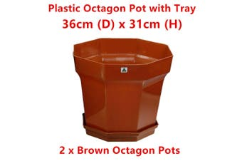 2 x Large Brown Octagon Plastic Garden Pots Flower Plant Decor Home Saucer Tray Grow