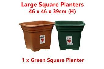 1 x Green Large Square Plastic Garden Pot Flower Planter Decor Home Saucer Tray Grow