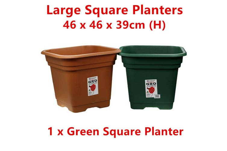 1 x Green Large Square Plastic Garden Pot Flower Planter Decor Home Saucer Tray Grow