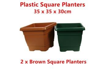 2 x Brown Medium Square Plastic Garden Pots Flower Planter Decor Home Saucer Tray Grow