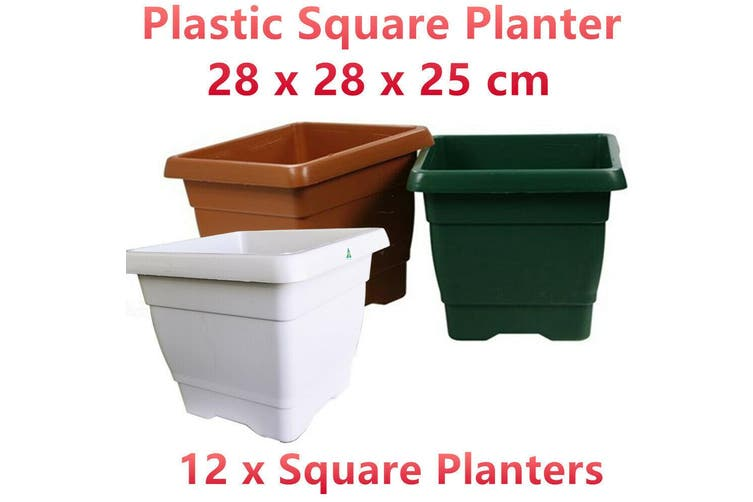 12 x Small Square Plastic Garden Pots Flower Planter Decor Home Grow Indoor Out