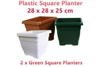 2 x Green Small Square Plastic Garden Pots Flower Planter Decor Home Saucer Tray Grow