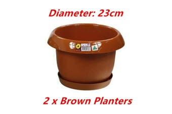 2 x Brown Round 23cm Planter Plastic Pot Garden Flower Grower Home Saucer Tray Outdoor