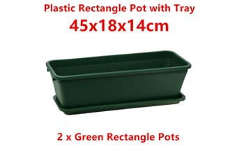 2 x Green Rectangle Plastic Garden Flower Pots Vege Grow Saucer Tray Plant Decor Long