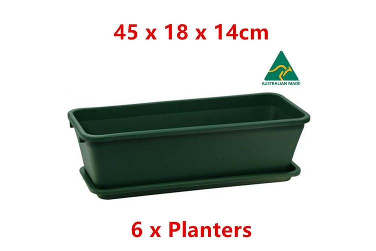 6 x Green Garden Planter w Tray Plastic Pot Vase 45x18CM Outdoor Grow Bed Decor