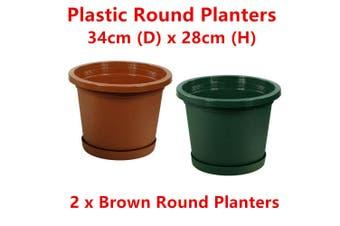 2 x Brown Round 34cm Plastic Garden Pots Flower Planter Decor Home Saucer Tray Grow