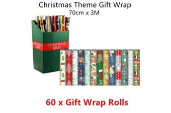 60 x Christmas Gift Wrap Rolls Present Bag Wine Xmas Santa Wall Decor Paper 3M