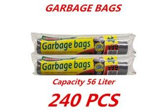 240 x 56L Heavy Duty Bin Garbage Bags Liners Rubbish Bags Black Garden Clean Rectangle
