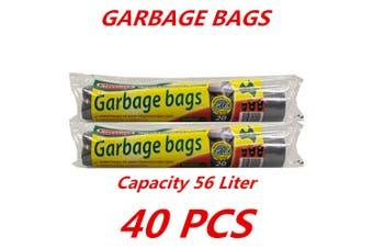 20 x 56L Heavy Duty Bin Garbage Bags Liners Rubbish Bags Black Garden Clean Rectangle