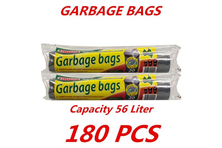 180pc 56L Bin Garbage Bags Liners Rubbish Bags Black Garbage Bag Heavy Duty BULK