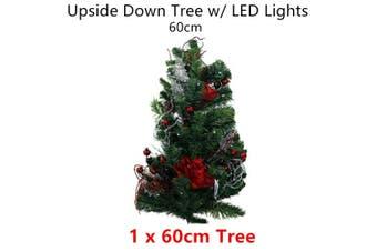LED Light Upside Down Tree 60cm Xmas Christmas Party Decor Battery Hang Home