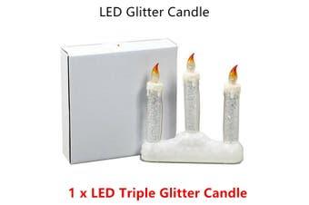 LED Glitter Candle Plastic Decor AAA Battery Tea Light Home Christmas Birthday
