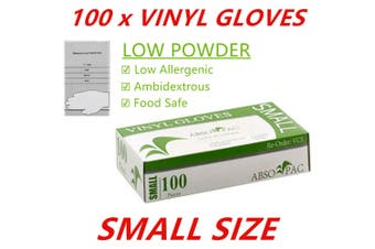 100 x SML Clear Vinyl Disposable Gloves Low Powder Powdered Protective Food Safe