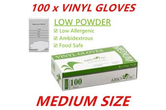 100 x Med Clear Vinyl Disposable Gloves Low Powder Powdered Protective Food Safe