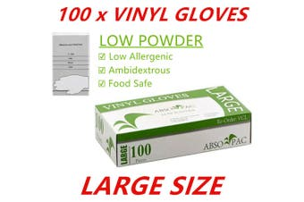 100 x L Clear Vinyl Disposable Gloves Low Powder Powdered Protective Food Safe