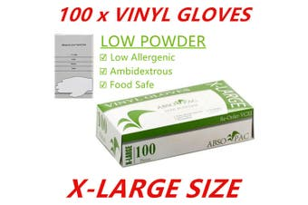 100 x XL Clear Vinyl Disposable Gloves Low Powder Powdered Protective Food Safe