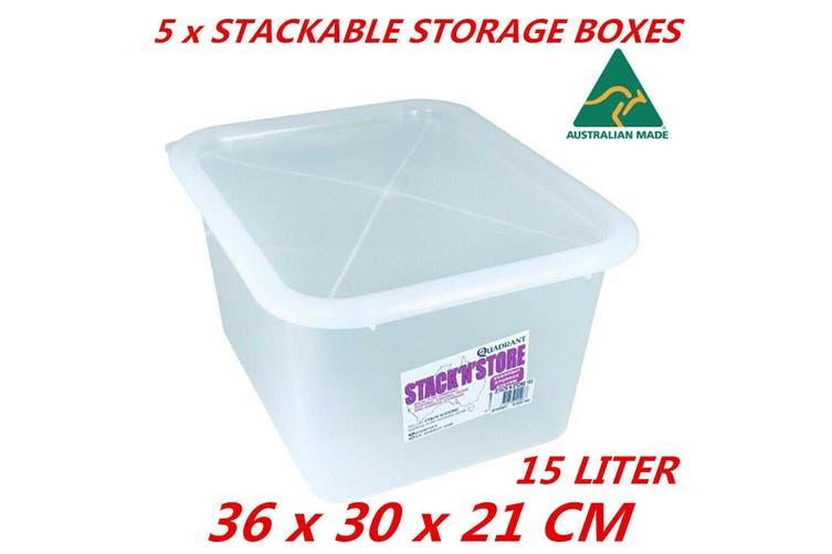 5 x 15L Plastic Multipurpose Quadrant Storage Container Organizer Stackable Box