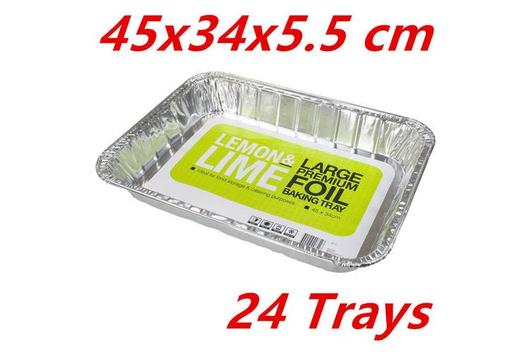 24 LARGE Aluminium Foil Trays Baking Dish Roasting Pan BBQ Takeaway Container FD