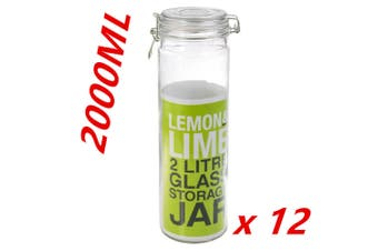12 x Glass Canister with Air Tight Lids 2L Food Storage Container Jar Jars DDF