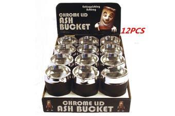 12 x Chrome Lid Ashtray Bucket Auto Car Cigarette Butt Cup Ashtray Smoke Ash Holder
