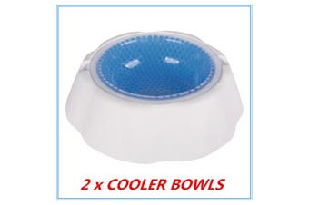2 x Pet Cooling Bowl Freezable Chilled Cold Water Bowl Summer Chilled Frozen Dog Cat