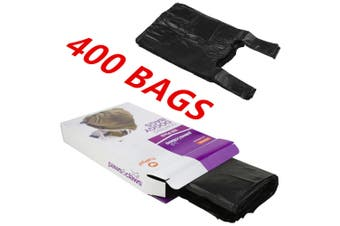 400 x SCENTED DOG PUPPY POO POOP LITTER WASTE CLEAN UP DISPOSAL BAGS BLACK TIE HANDLES