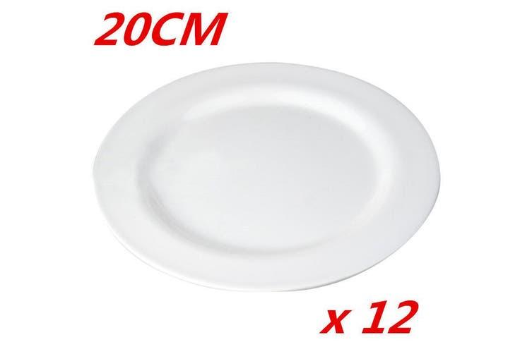 12 x 20cm Plain White Round Melamine Plate Starters Salad Dessert White Side Plates W