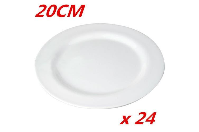 24 x 20cm Plain White Round Melamine Plate Starters Salad Dessert White Side Plates W