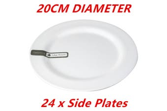 24 x 20cm White Round Melamine Plates - Starters Salad Dessert White Plates Bulk