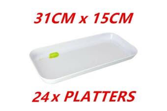 24 x Glossy White Melamine Sandwich Trays Platter Dinner Party Birthday Wedding