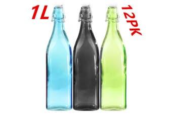 12 x Airtight Glass Water Bottle Carafe 1 Litre Colored Clip Lock Restaurant fww
