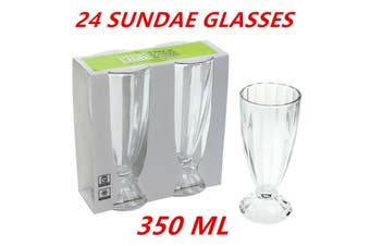 24 x Classic Ice Cream Sundae Glass 350ml Milkshake Cup Smoothie Dessert Glasses