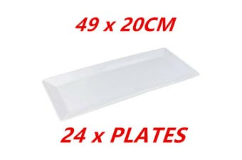 24 x White Melamine Serving Platters 49x20CM Dinner Sandwiches Catering Party