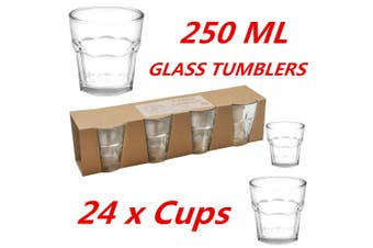 24 x 250ml Clear Bulk Glass Tumblers Drinking Cup Scotch Whisky Glasses Party Event