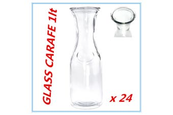 24 x Glass Carafe 1 Lt for Water Juice Wine Serving Pitcher Jug Bottle wh lid FW