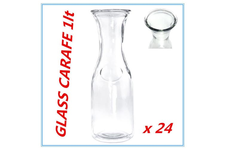 24 x Glass Carafe 1 Lt for Water Juice Wine Serving Pitcher Jug Bottle wh lid FW