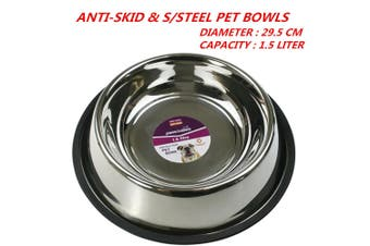 1 x 1.5L 29.5cm Anti-Skid Stainless Steel Pet Dog Cat Puppy Water Food Feeder Bowl Dish Stand