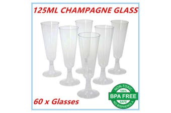 60 x Disposable Plastic Champagne Flutes 125ml Wedding Party Wine Glasses Glass Cups