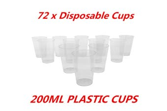72 x 200ml Disposable Clear Hard Plastic Tumblers Cups Cup Party Wedding Events