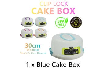 Blue Round Clip Lock Cake Boxes Holder Storage Container Easy Carry Fridge Food Tray